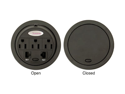 Power data grommets for NOC furniture
