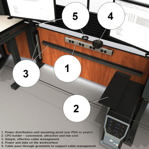 control room console desk with features: keyboard, power units, CPU holder