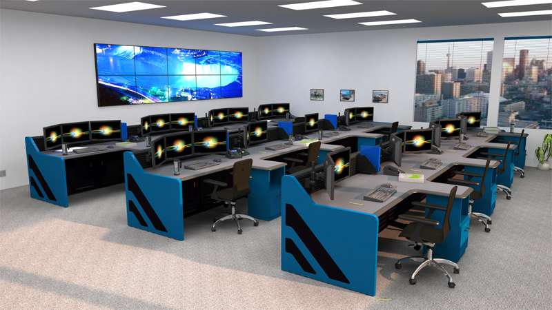 Enterprise NOC Control Room Furniture Rendering