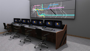 noc console mult-station desk with video wall behind