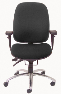 24-Hour Multi-Shift Intensive Use Ergonomic Task Chair - Front, Black