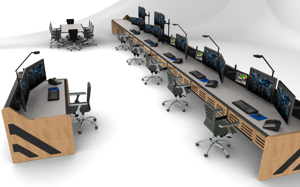 console furniture in control room rendering