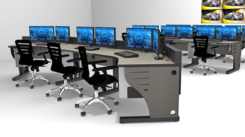 fixed height technical console with monitors and task chairs, rendering