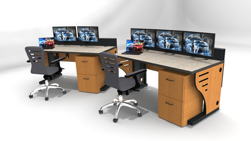fixed height console station with monitor row and task chair