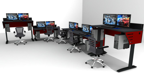 adjustable-height furniture stations with monitors and task chairs