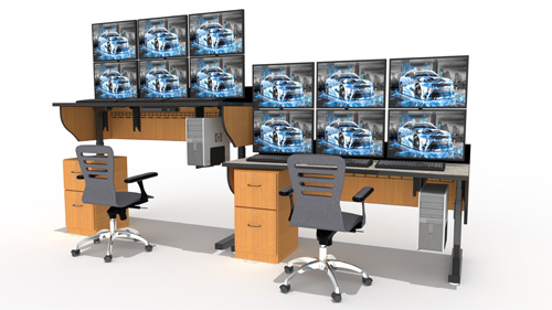 Adjustable-height console desks with task chairs and multi-monitor displays