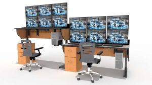 sit stand adjustable height desk rendering with task chairs and monitors