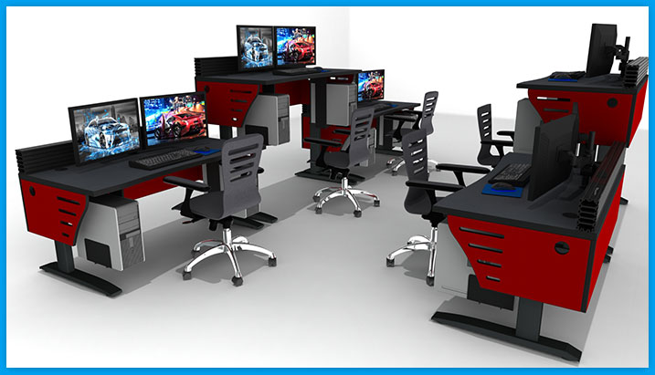Red adjustable sit stand control room furniture consoles