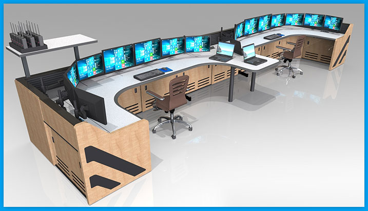 U-Shaped NOC control room furniture console desk with multiple stations for operators