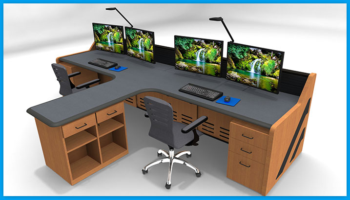 NOC control room furniture console desk with built-in storage, chair, keyboard, monitor arms and task lighting