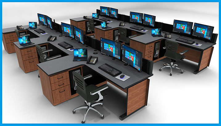 Control room furniture console desk with peninsula and built-in storage. Multiple monitor arms, keyboard and chairs.