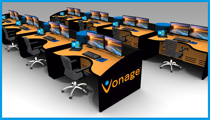 Custom Vonage NOC control room furniture with curve shaped desk top
