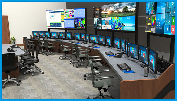 Single row of NOC control room furniture with portable monitor wall, conference table, task chairs and monitor arms