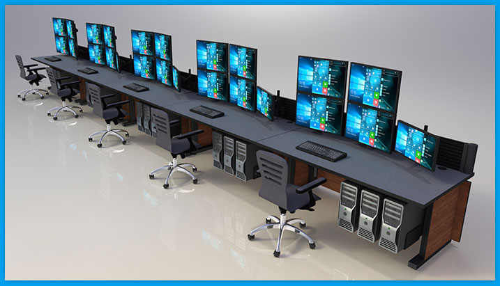 Single row of NOC furniture with CPU holers, quad monitor arms and operator chairs