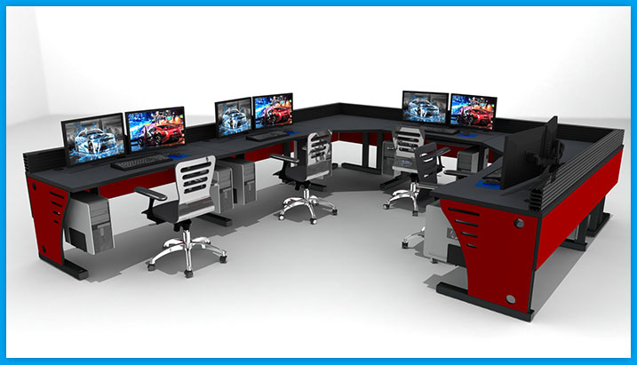 Red control room furniture with chairs and monitors