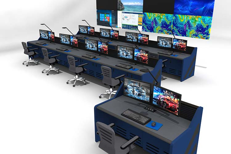 Control room with technical furniture and video walls