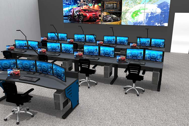 noc furniture and video walls in airport control room