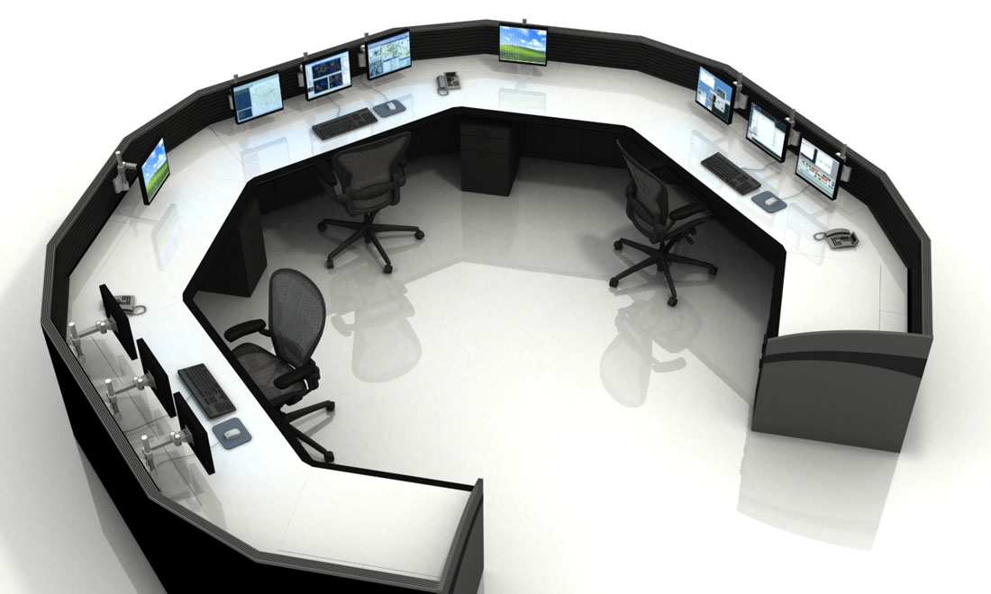 Multi-station Control Room Furniture, aerial view