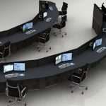 Half circle rows of education desk furniture with chairs, monitor arms and keyboard