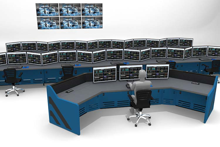 Blue console furniture desks with multi-station monitor screens