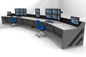 Security surveillance console furniture rendering