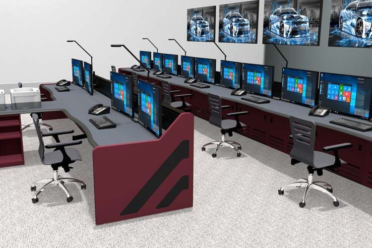 control room with console desks, monitors, and audio video walls