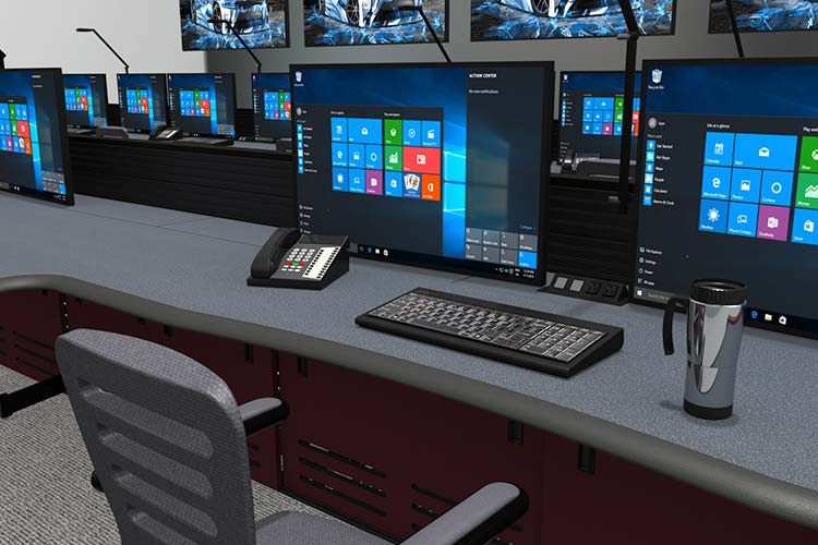 command center desk with monitor in military installation