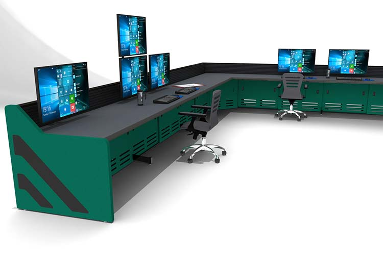 green control room console with multi-operator seating