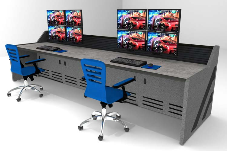 Console desk with dual stations and monitors