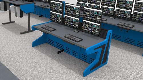 Single control console desk with multiple monitors and blue side panels