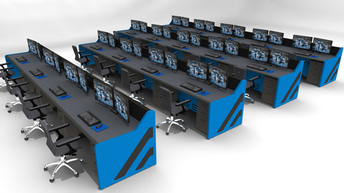Rendering of control room with multiple console desks