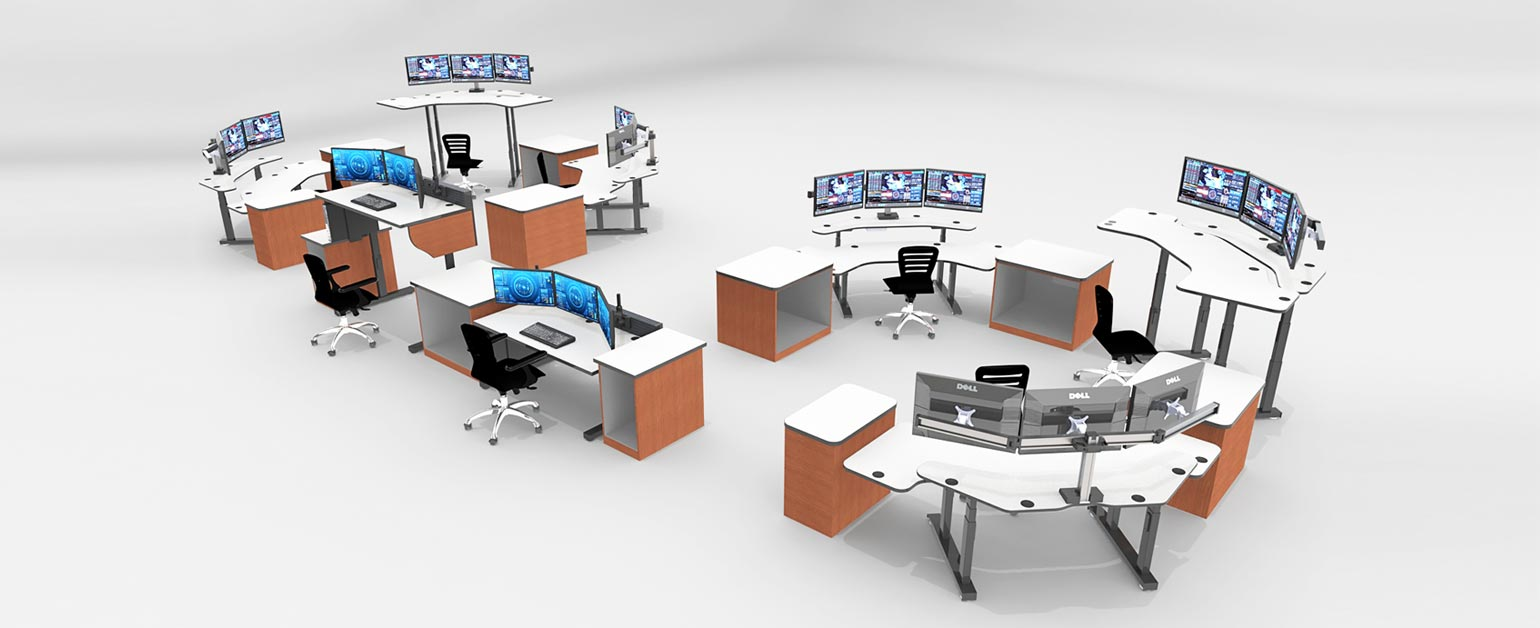 dispatch furniture in control room, rendering