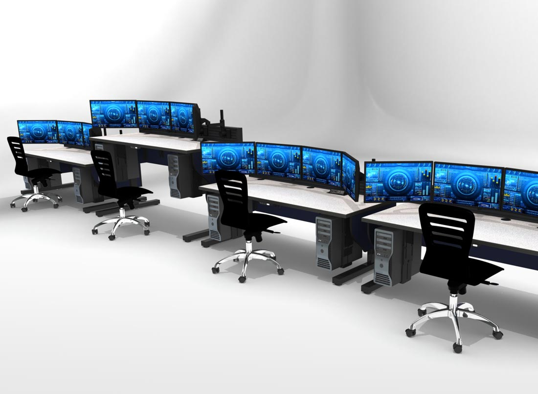 rendering of 2 rows of console desks with task chair and monitors