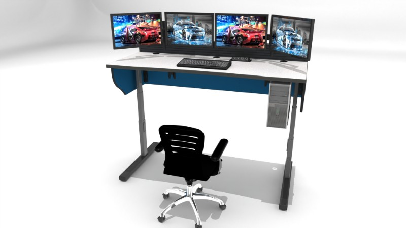 Sit stand adjustable height control room console rendering, blue