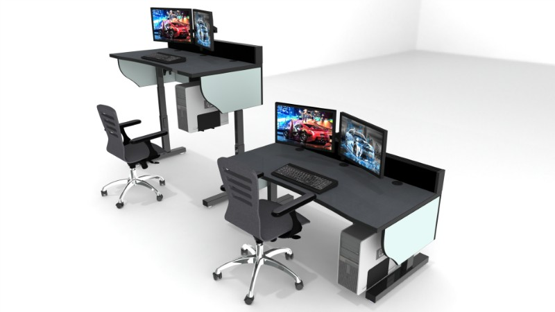 Sit stand adjustable height control room console 9