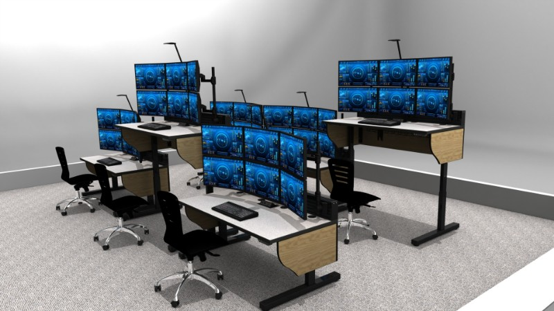 adjustable-height consoles with task chairs and multi-monitor setups