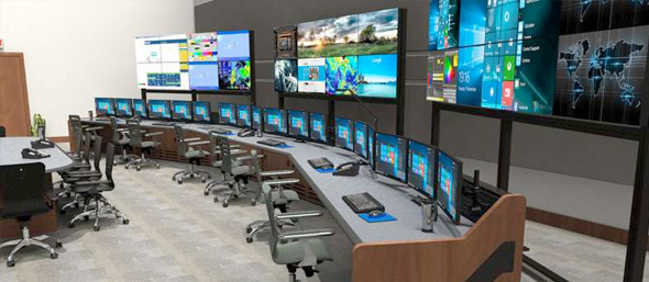 command center with portable monitor wall displays