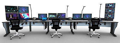 Summit Edge control room furniture model rendering