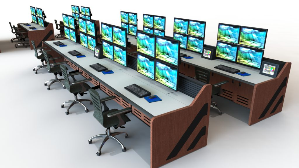 Multi-stationed control room furniture with monitors and chairs; brown side panels