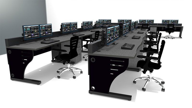 black console furniture multi-station with task chairs and dual monitors