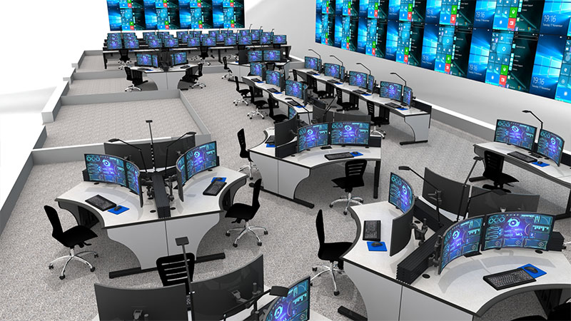 control room rendering with consoles, monitors, and video walls