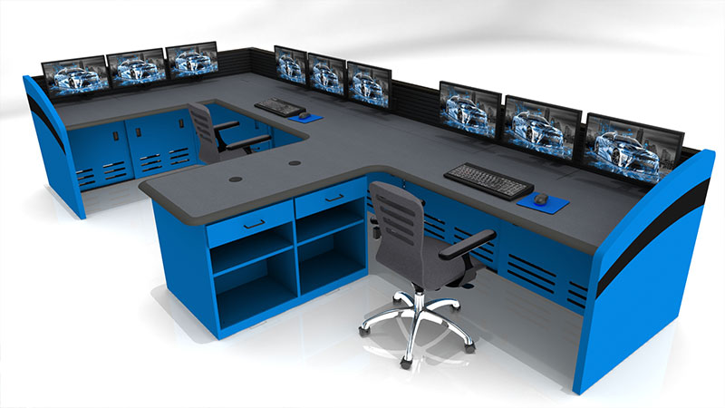 Summit Enterprise multi-station desk - blue