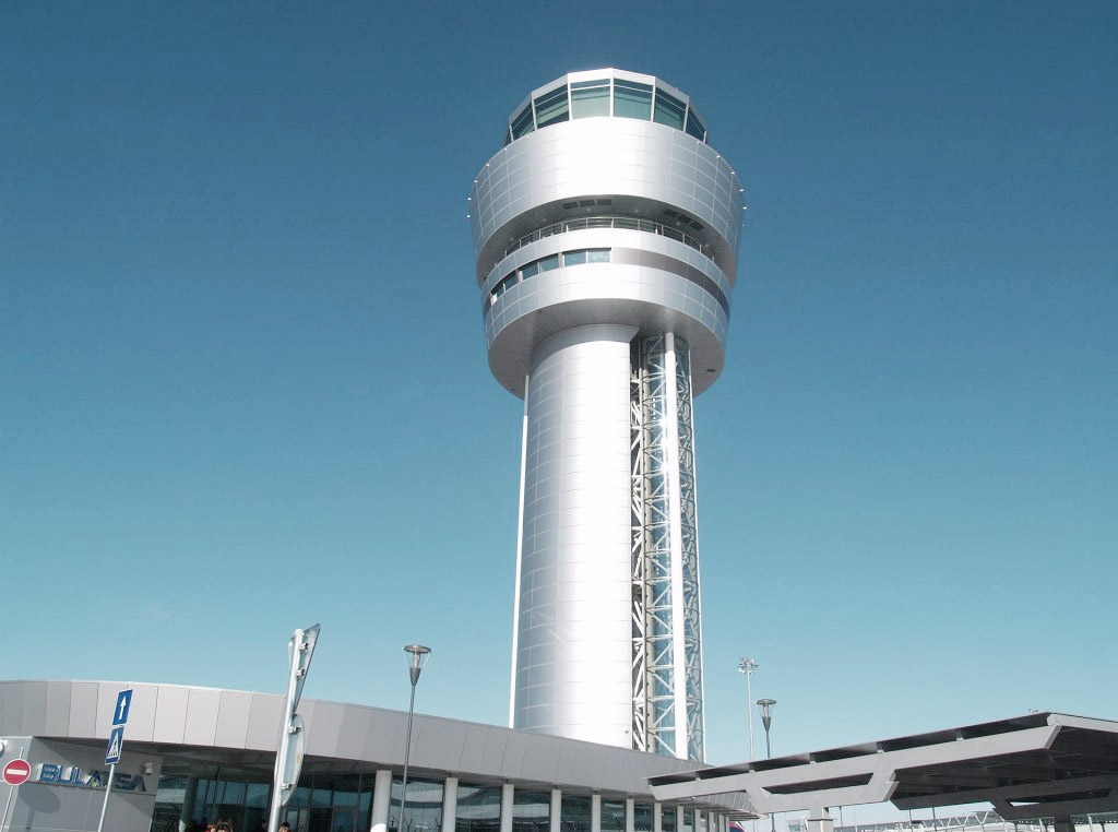 airport mission control tower exterior view