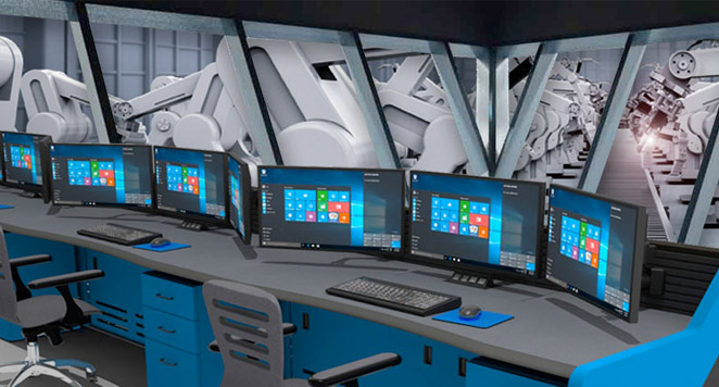 control room technical furniture setup with multi-monitor displays and task chairs
