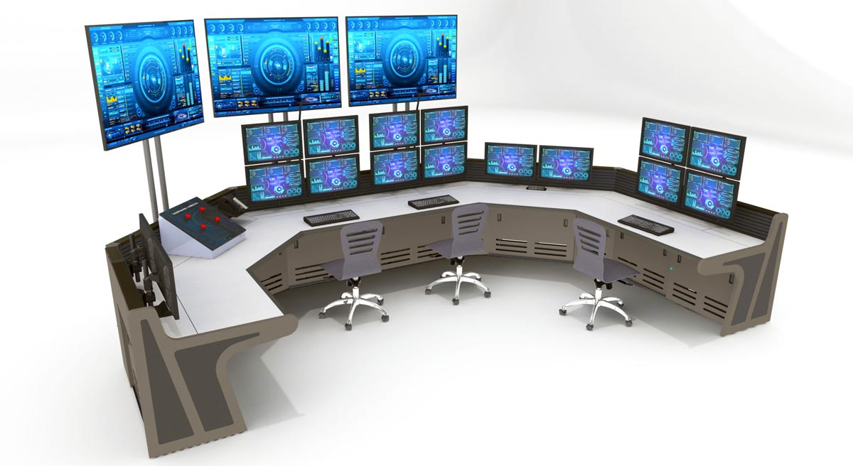 Enterprise console with station monitors and monitor walls