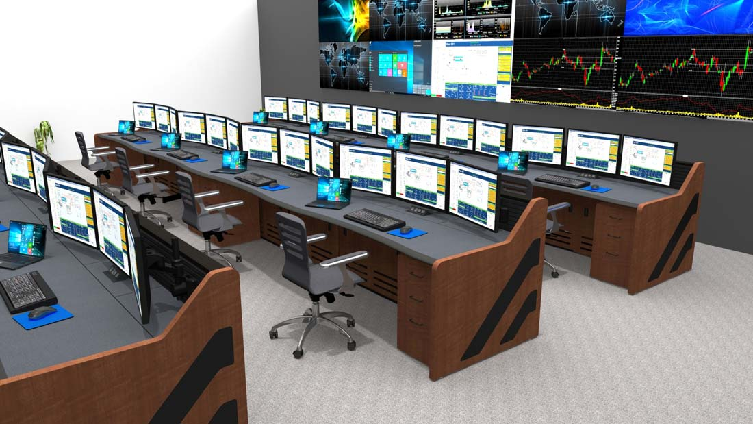 multi-operator control room furniture in a power plant rendering