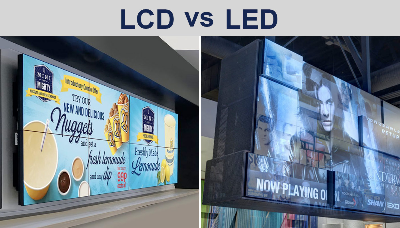 LCD wall vs LED wall photos