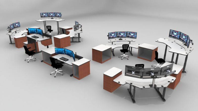 Adjustable Sit Stand Up Security Desk