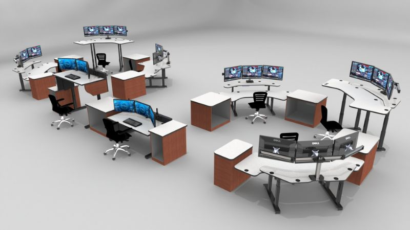 Adjustable Sit Stand Up control room consoles