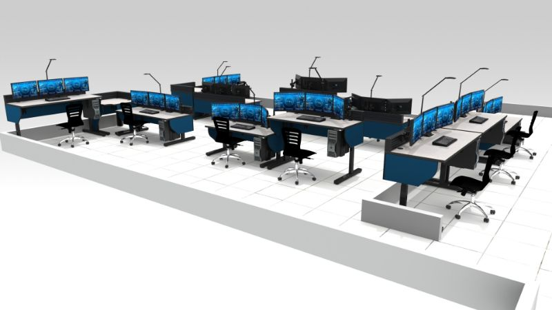 Sit Stand Furniture in control room rendering